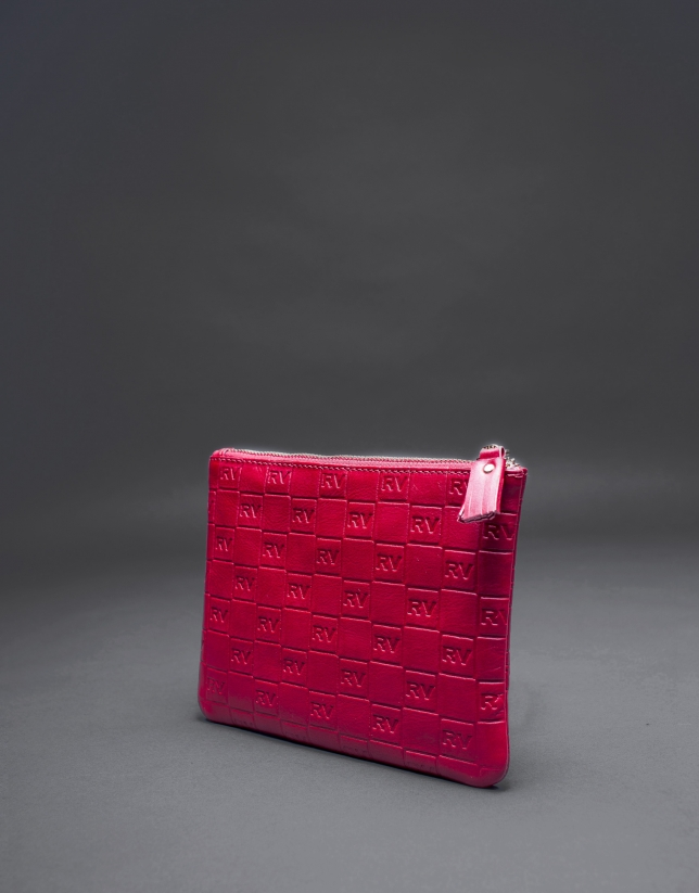Red leather vanity case with embossed RV