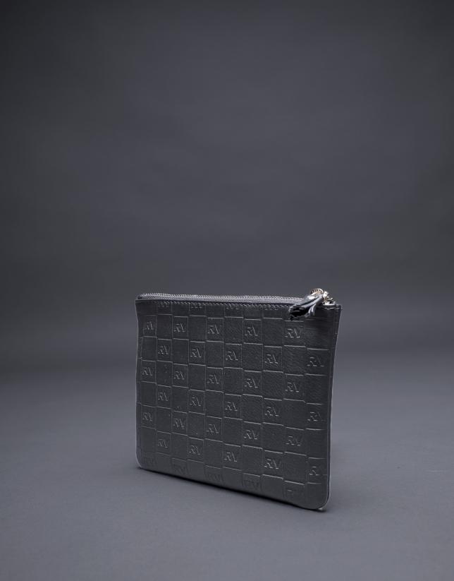 Trousse de toilette noire cuir gravure RV