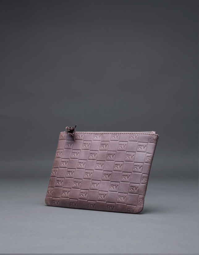 Brown leather vanity case with embossed RV