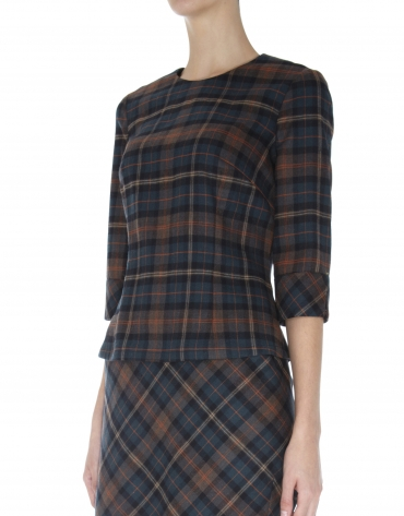 Scottish print top with long sleeves