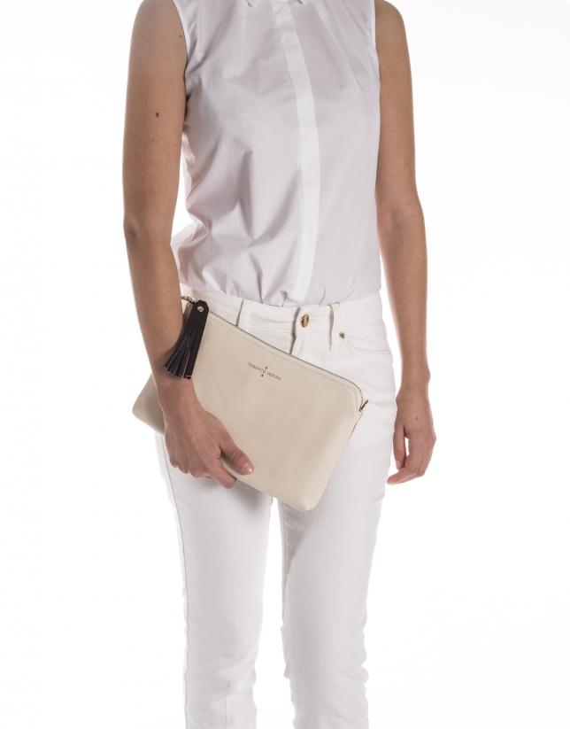 Color block Saffiano leather clutch bag