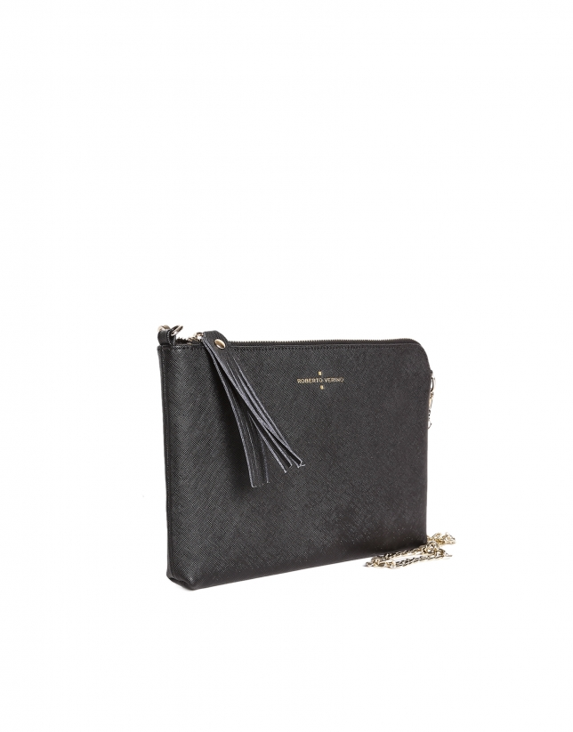 Black Saffiano leather clutch bag