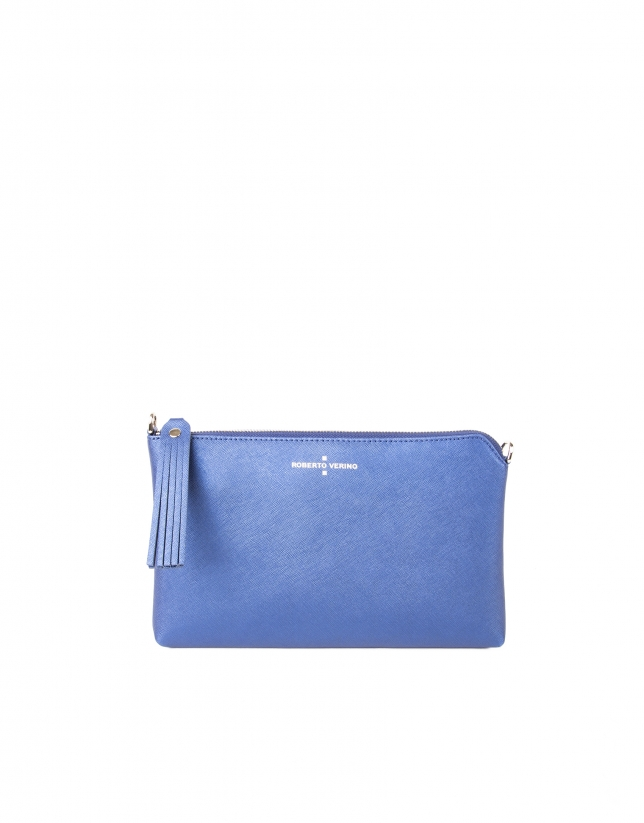 Metalized blue Saffiano leather clutch bag