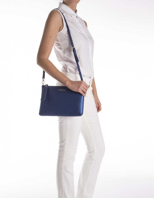 Metalized blue Saffiano leather clutch bag