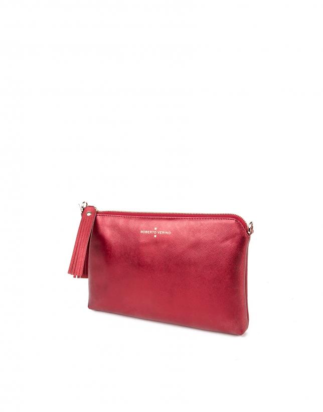 Clutch en cuir Saffiano rouge métallisé