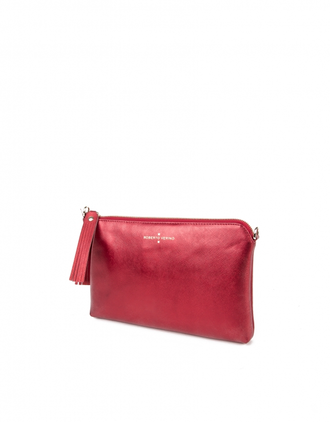 Clutch piel saffiano rojo metalizado