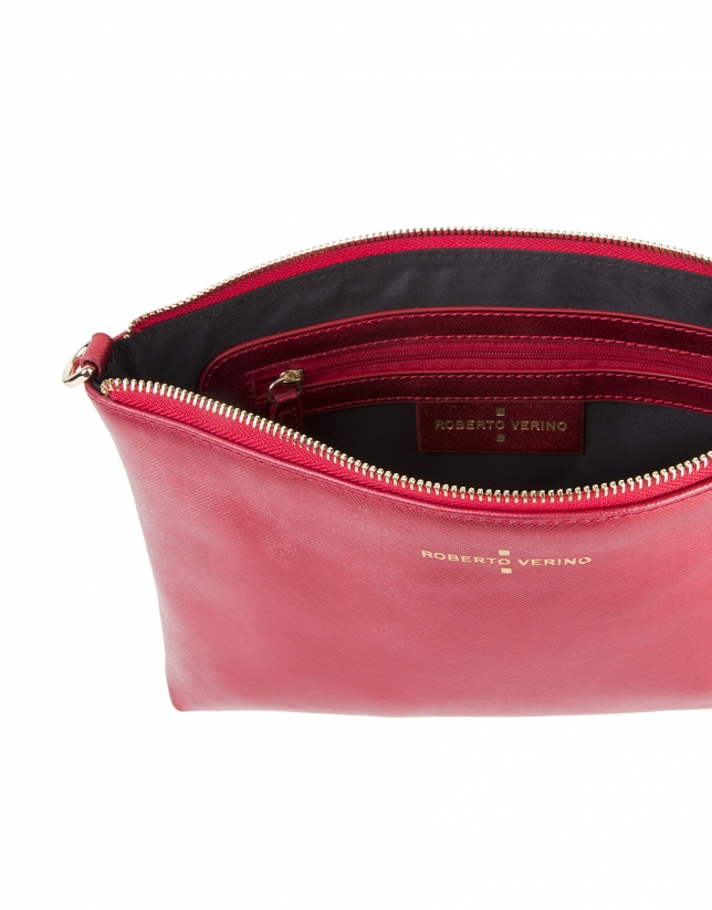 Red metalized Saffiano leather clutch