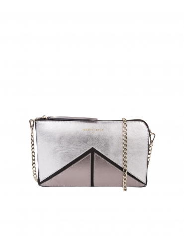 Tricolor metalized Saffiano leather clutch bag