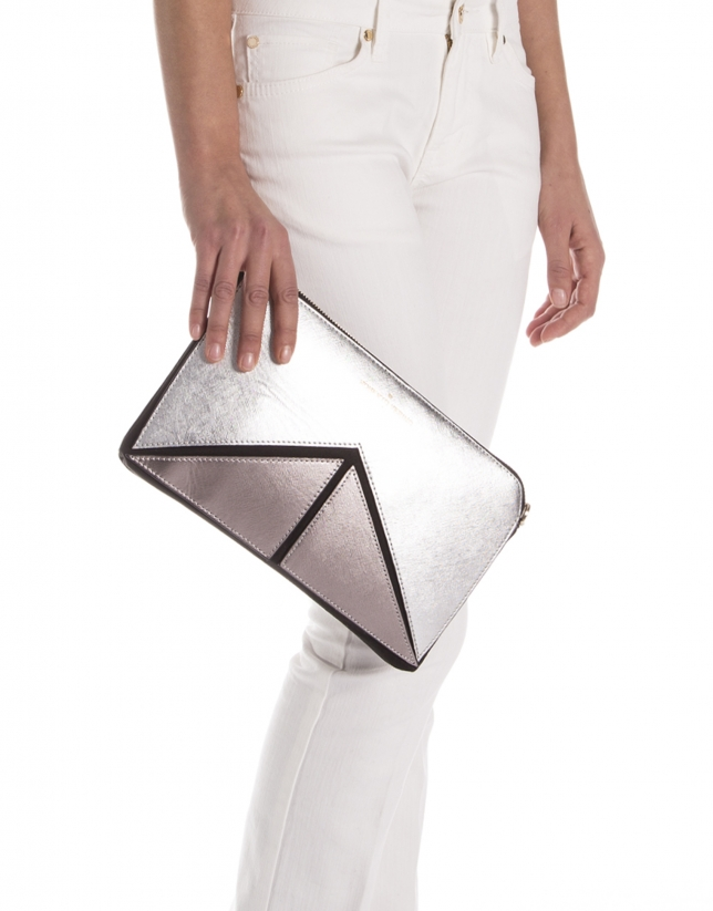 Tricolor metalized Saffiano leather clutch bag