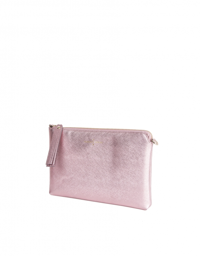 Clutch piel saffiano rosa metalizado