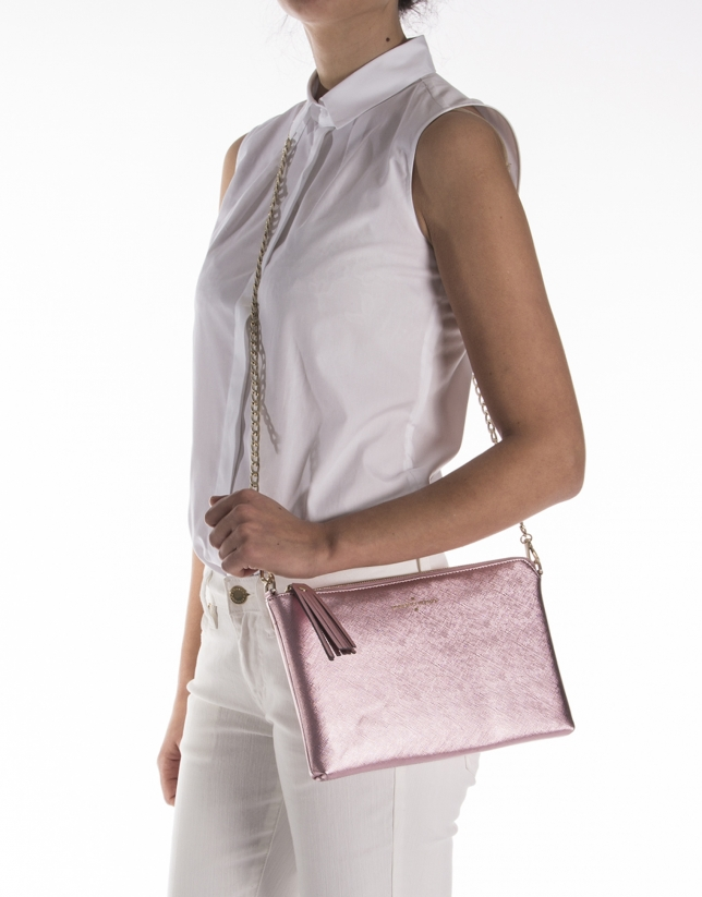 Pink metalized Saffiano leather clutch bag