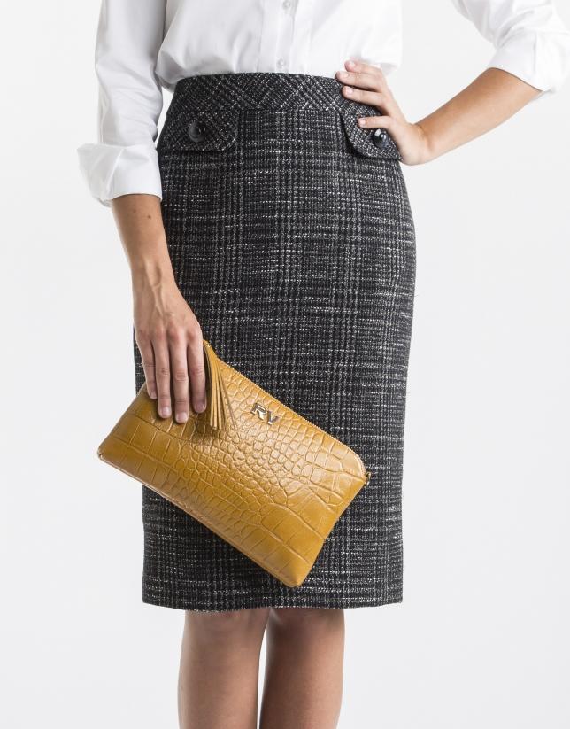 Plain mustard messenger bag