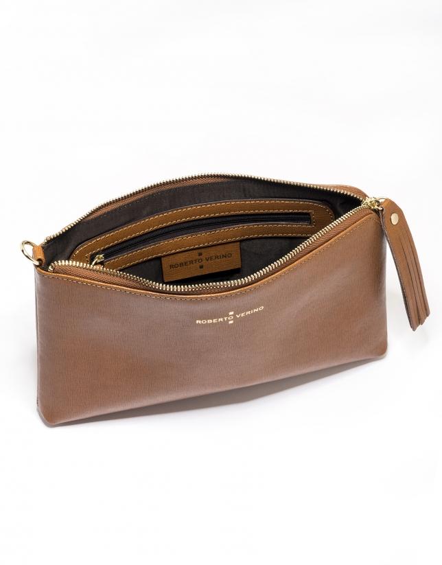 Tan Saffiano leather Lisa Clutch