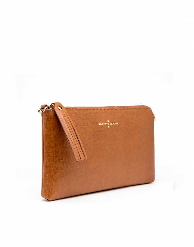 Tan Saffiano leather Lisa Clutch