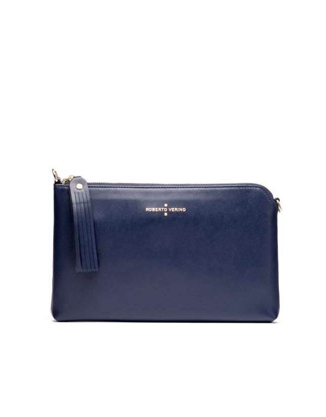 Bolso clutch piel saffiano azul marino Lisa