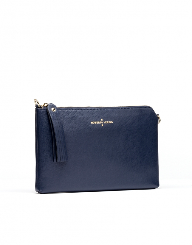 Navy Saffiano leather Lisa Clutch