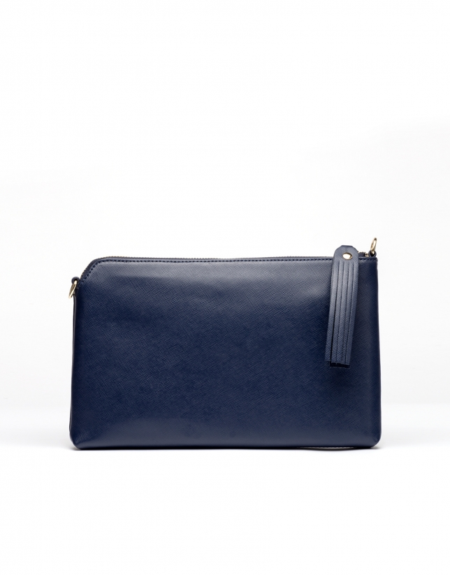 Clutch en cuir Saffiano, bleu marine Lisa