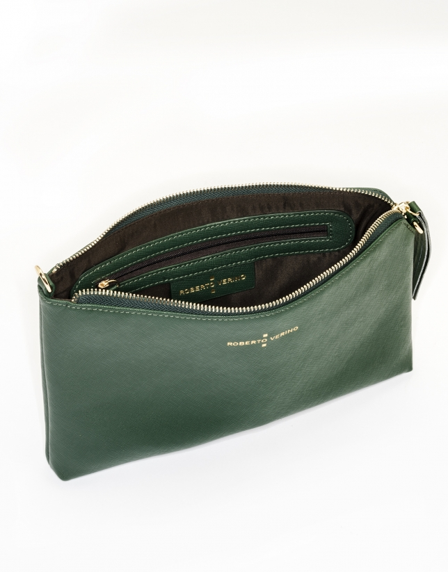 Dark green Saffiano leather Lisa Clutch