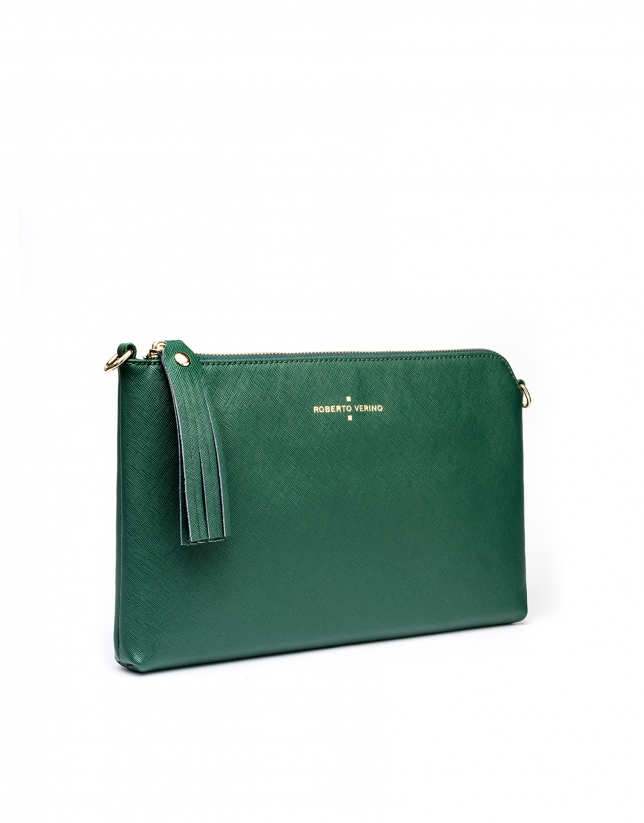 Clutch en cuir Saffiano, vert foncé Lisa