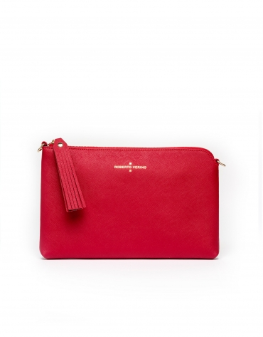 Clutch en cuir Saffiano rouge Lisa