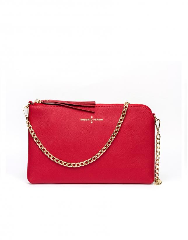 Bolso clutch piel saffiano rojo Lisa