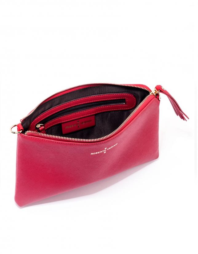Clutch en cuir Saffiano rouge Lisa