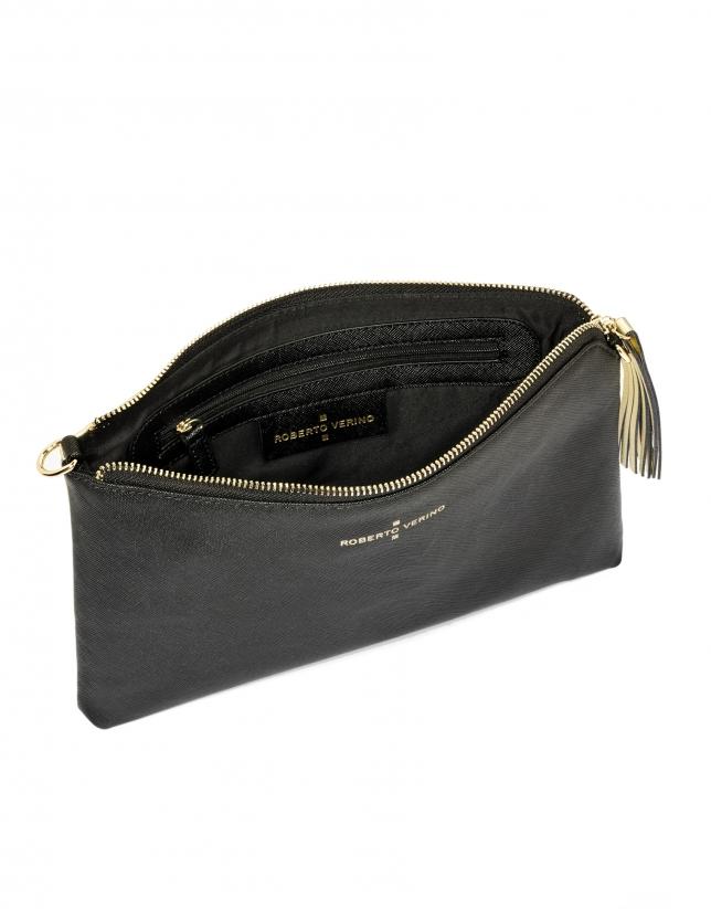 Black/gold Saffiano leather Lisa Clutch