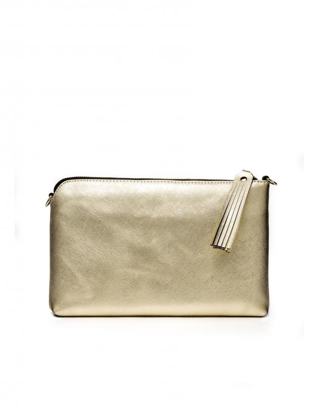 Bolso clutch piel saffiano negro/dorado Lisa