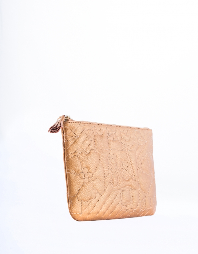 Bronze leather VIP vanity case with embroidered logo