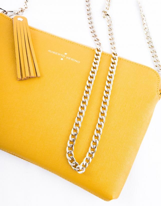 Lisa : clutch en cuir vachette couleur moutarde