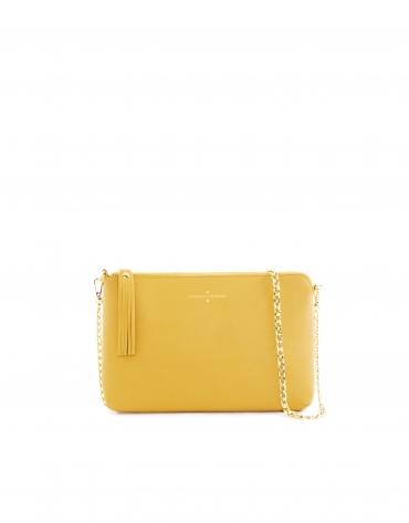 Mustard leather Lisa clutch bag