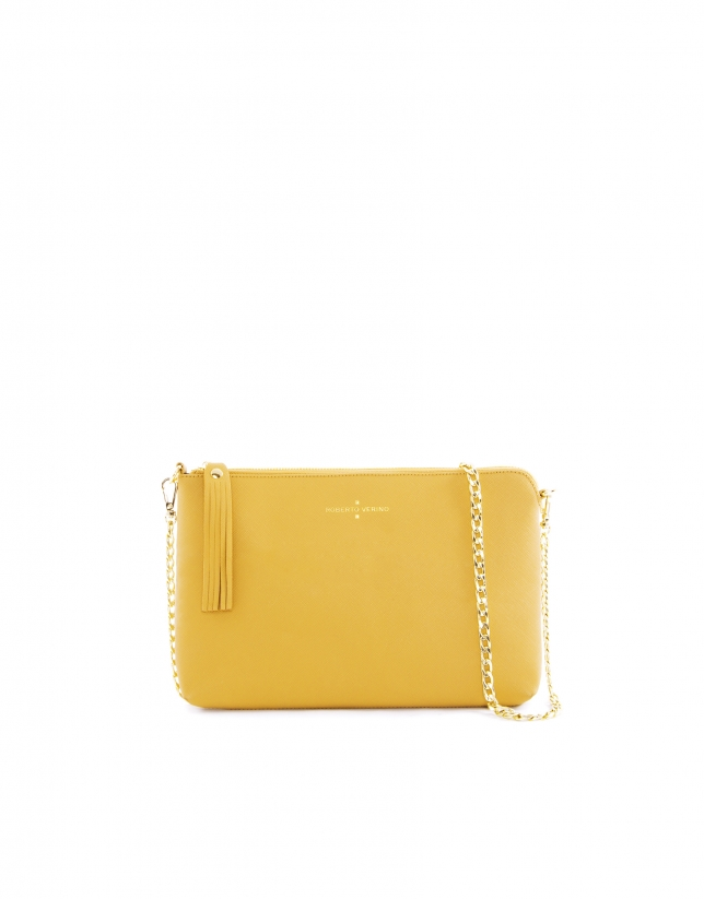 Mustard leather Lisa clutch bag