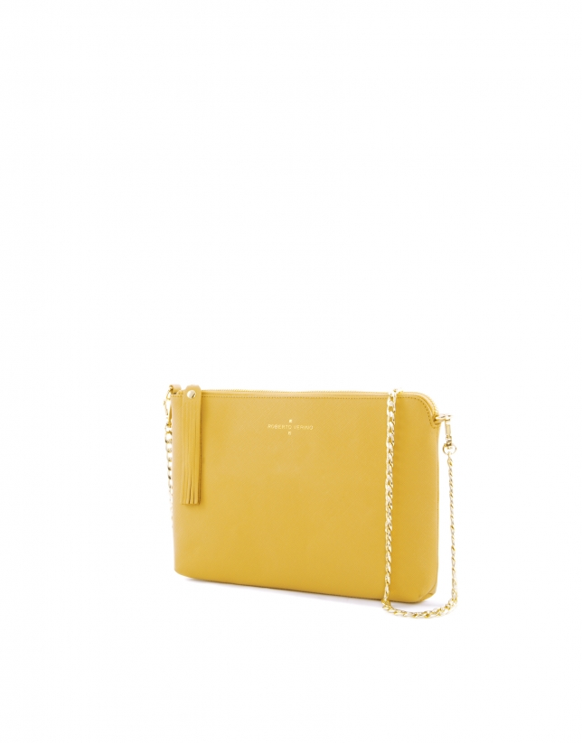 Lisa : clutch en cuir vachette couleur moutarde