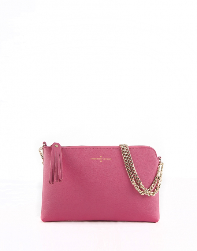 Fuchsia leather Lisa clutch bag