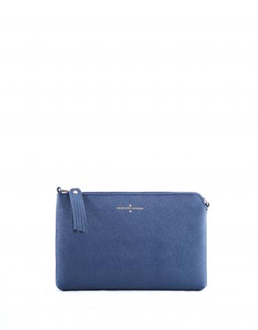 Lisa : clutch en cuir vachette bleu marine