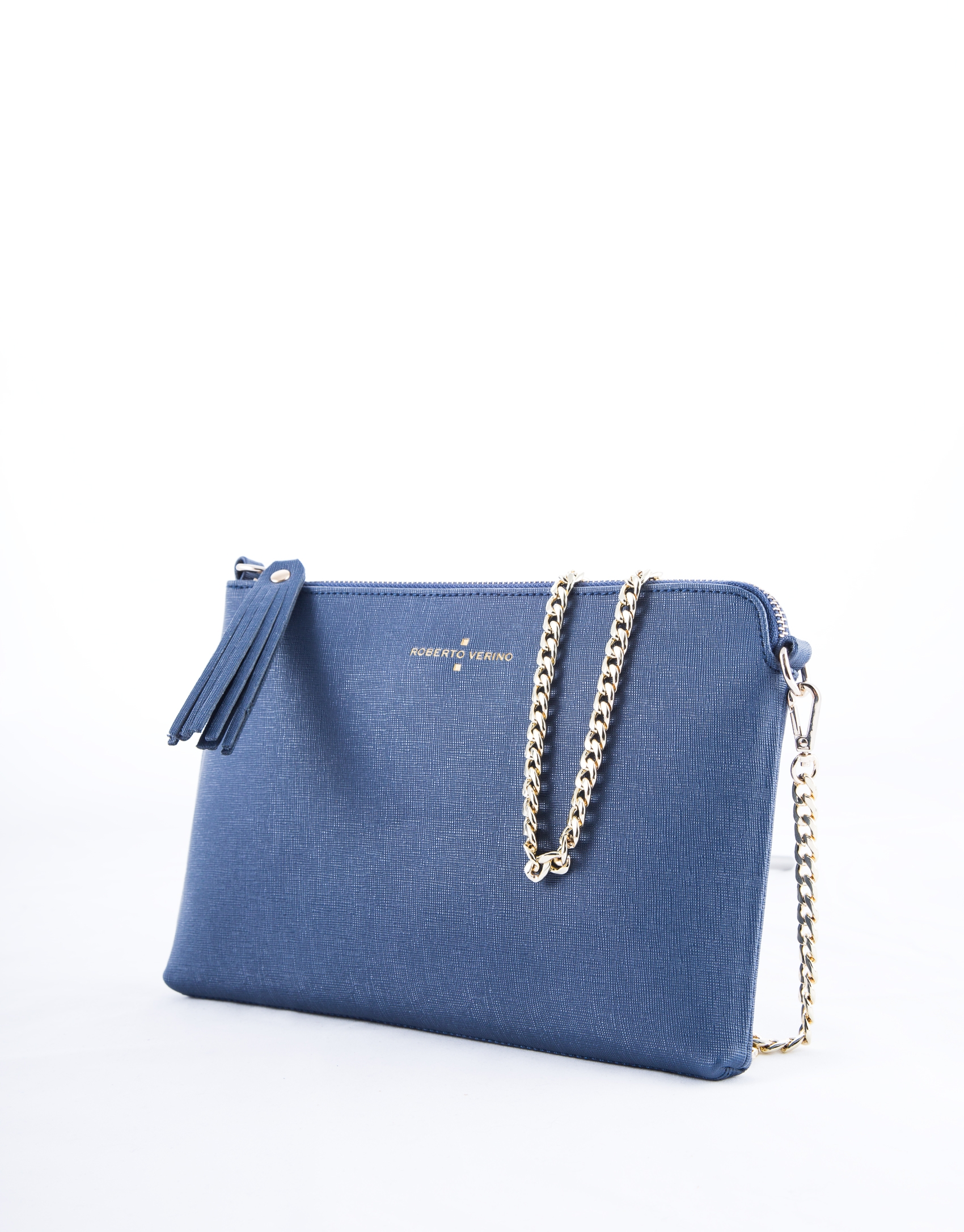 Navy blue leather Lisa clutch bag