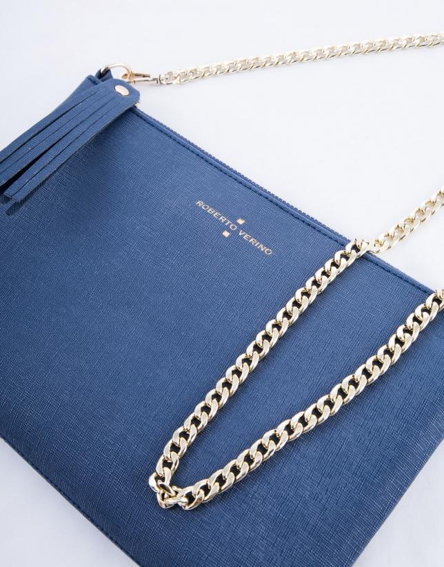 Navy blue leather Lisa clutch bag