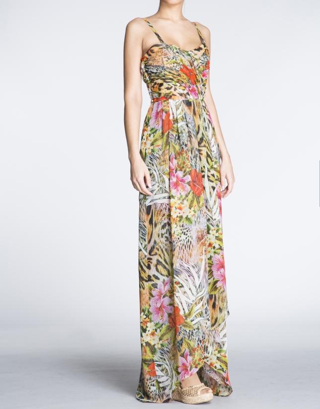 Vestido largo de tirantes estampado floral