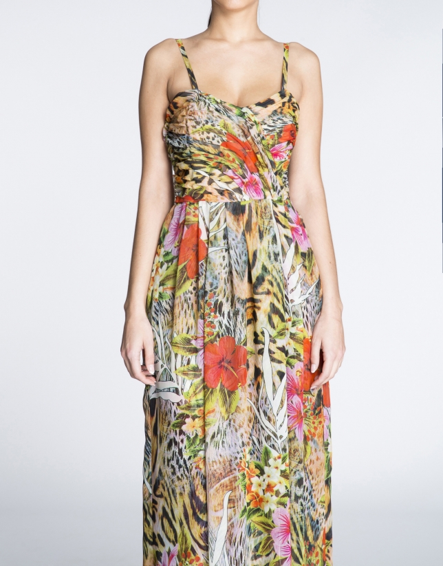 Long floral print halter top dress