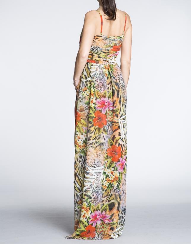 Robe longue à bretelles, motif floral.