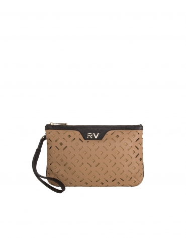 Geometric die cut leather clutch bag