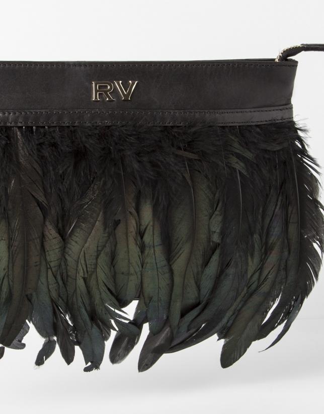 Sac Clutch noir à plumes
