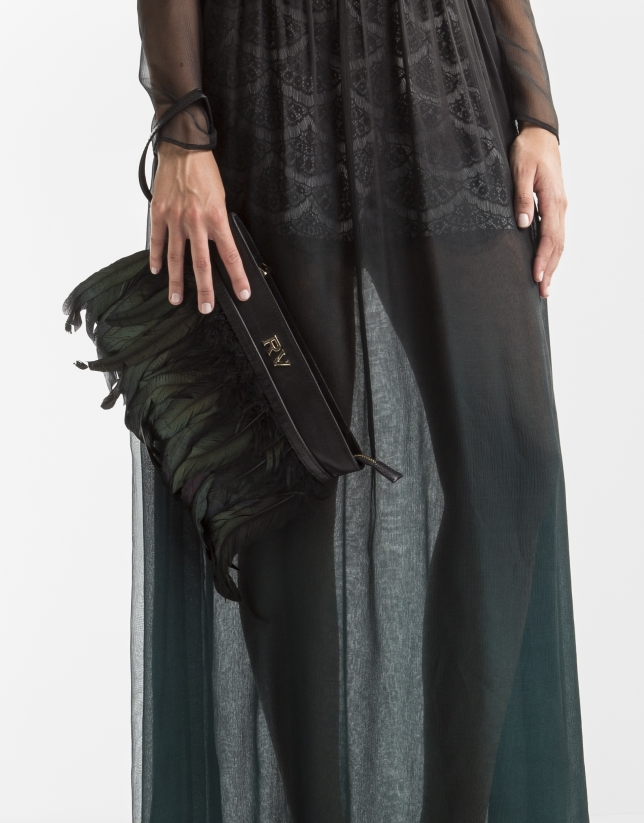 Black clutch with feathers