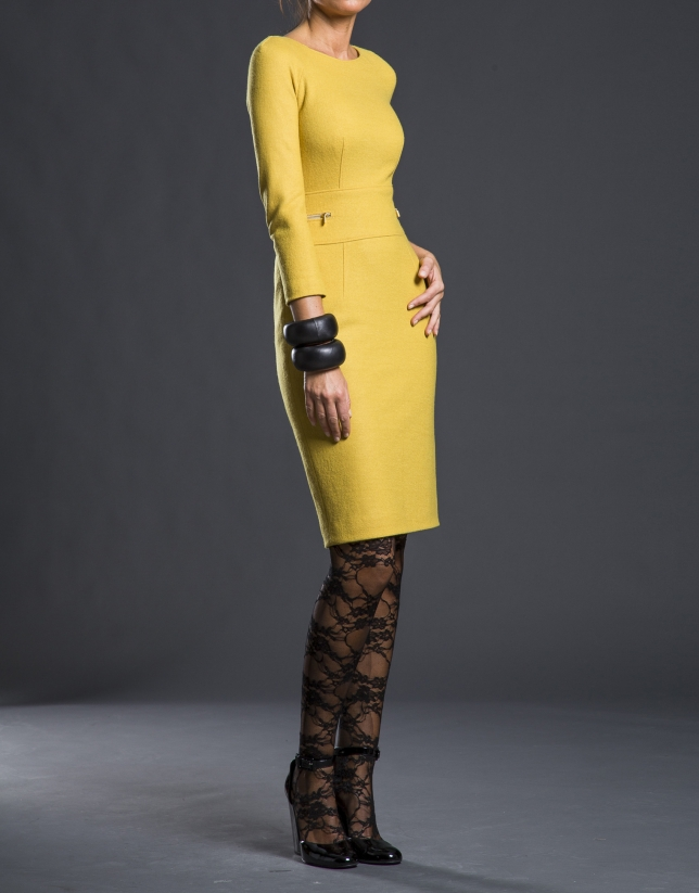 Mustard fitted knit dress
