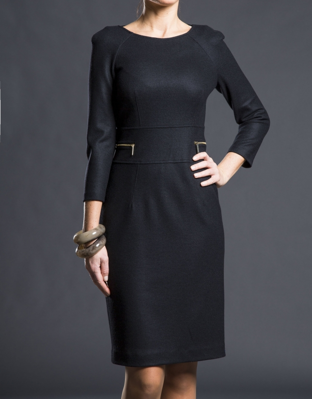 Black fitted knit dress