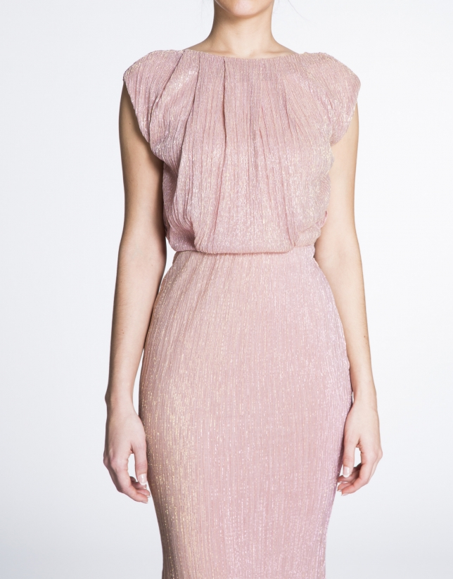 Shiny pink long party dress
