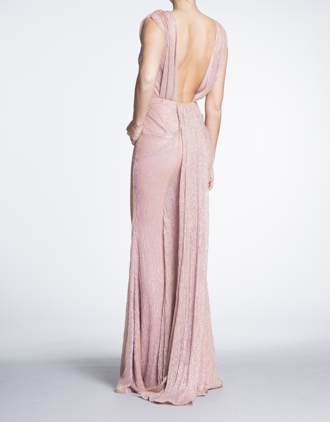 Shiny pink long party dress