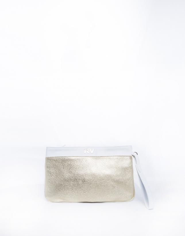 Audry : clutch en cuir vachette métallisé doré et blanc