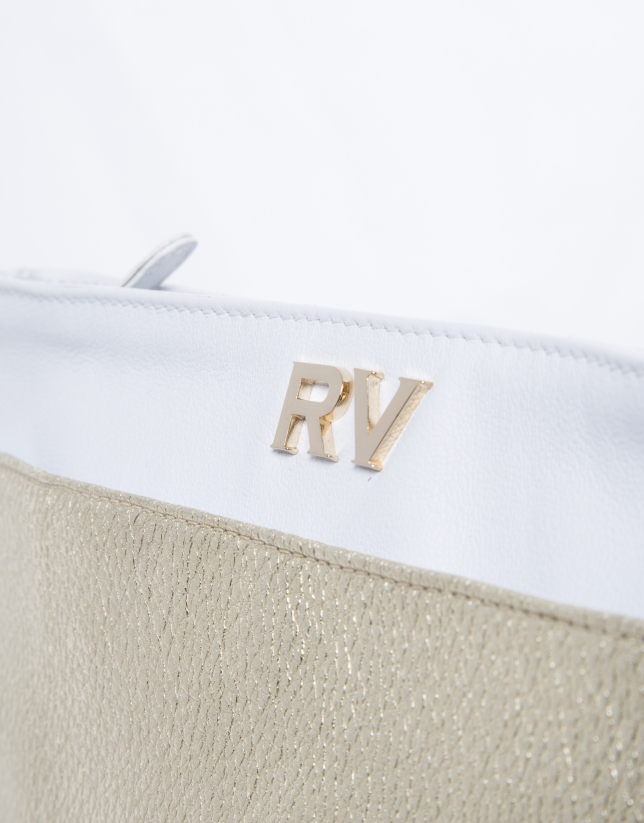 Bolso Clutch Audry piel metalizada dorada y blanca