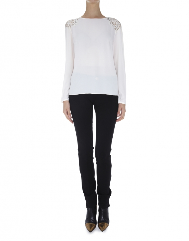 Off white crepe blouse with lace shoulders